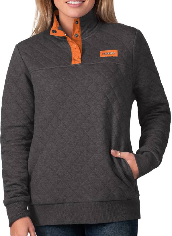 G-III For Her Women's Texas Longhorns First Hit Quarter-Button Pullover Black Top product image