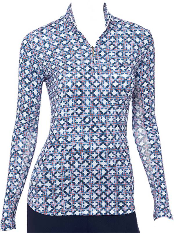 EP Pro Women's Tri-Color Print Long Sleeve Golf Polo product image