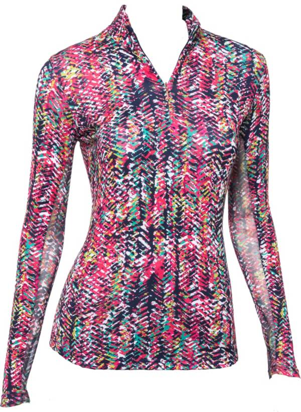 EP Pro Women's Multi Cultural Texture Print ½ Zip Long Sleeve Golf Polo product image