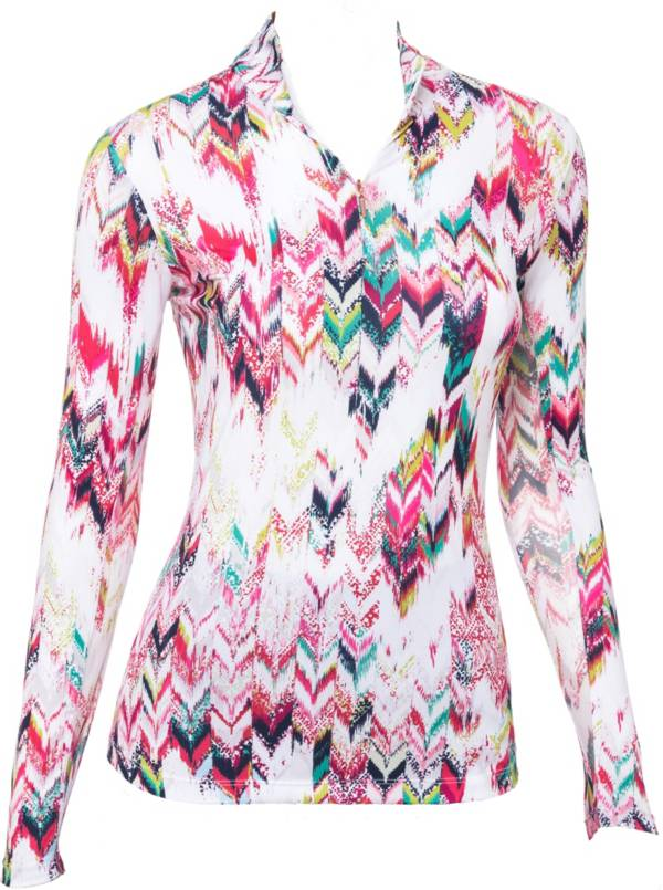 EP Pro Women's Aztec Ikat Print ½ Zip Long Sleeve Golf Polo product image