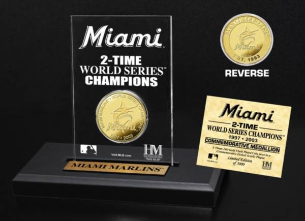 Highland Mint Miami Marlins Multi Champion Coin Printed Acrylic Display product image