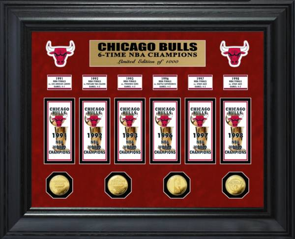 Highland Mint Chicago Bulls 6-Time NBA Champions Deluxe Banner Collection Photo Mint product image