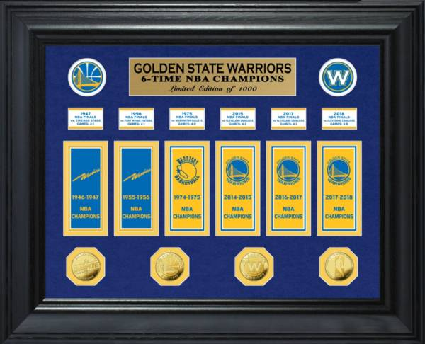 Highland Mint Golden State Warriors 6-Time NBA Champions Deluxe Banner Collection Photo Mint product image