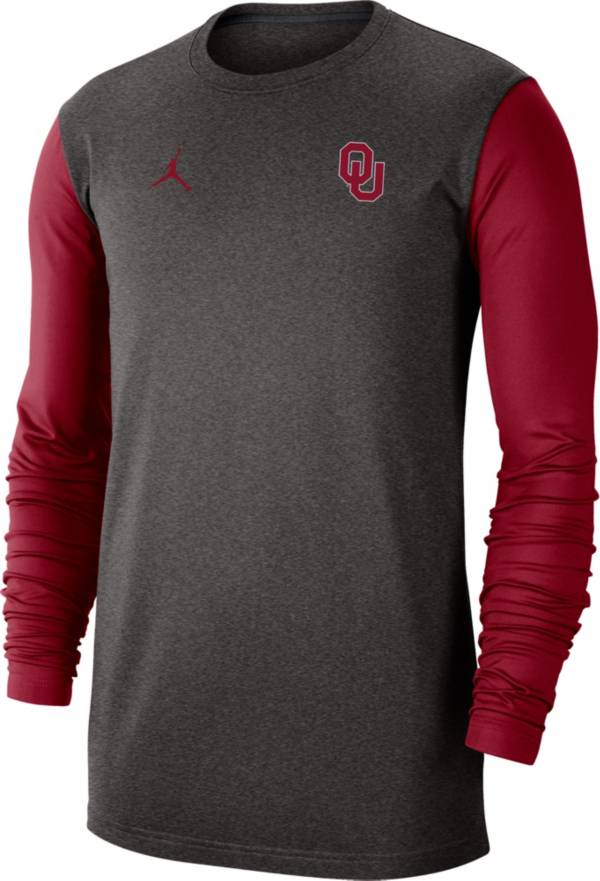 Jordan Men's Oklahoma Sooners Grey Dri-FIT Coaches Pullover Long Sleeve Football T-Shirt product image