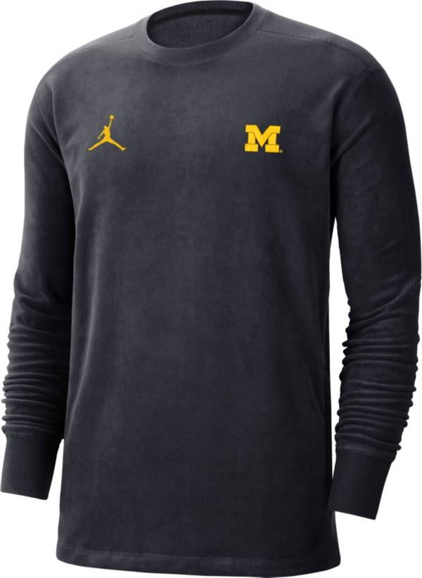 Jordan Men's Michigan Wolverines Blue Coach Crew Long Sleeve T-Shirt product image