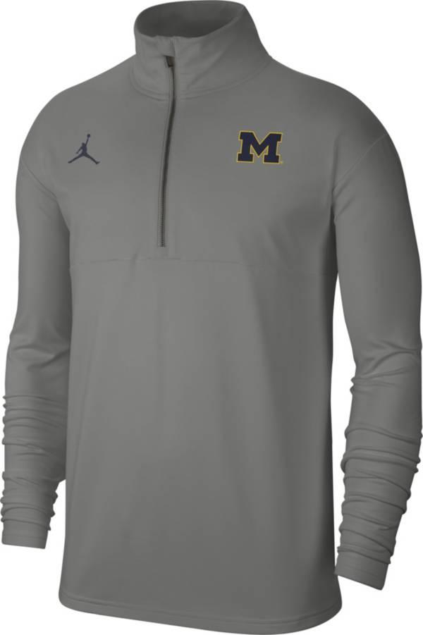 Jordan Men's Michigan Wolverines Grey Lightweight Football Coach's Half-Zip Pullover Shirt product image