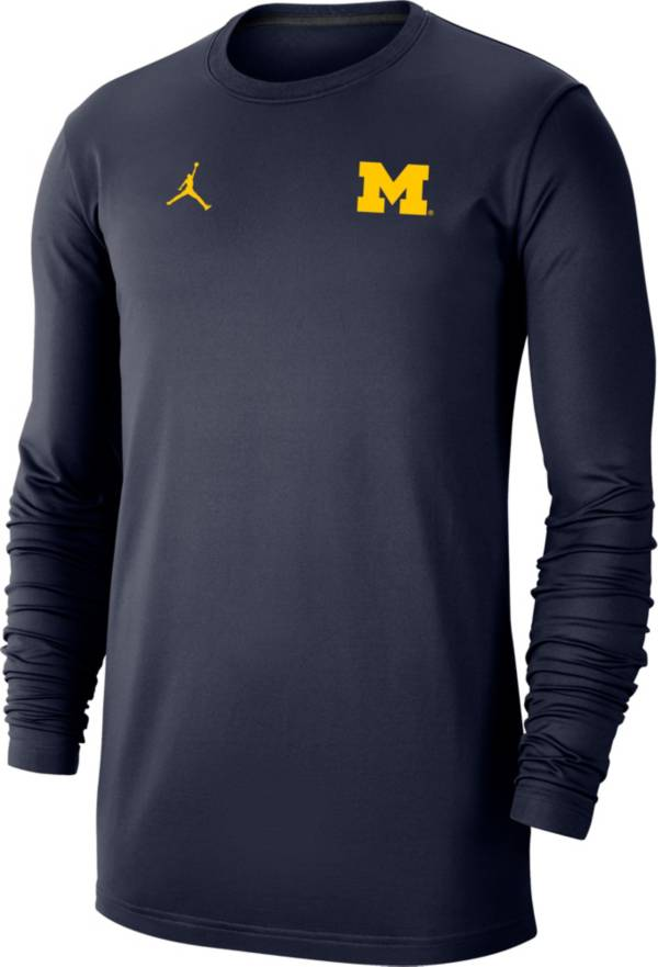 Jordan Men's Michigan Wolverines Blue Dri-FIT Coaches Pullover Long Sleeve Football T-Shirt product image