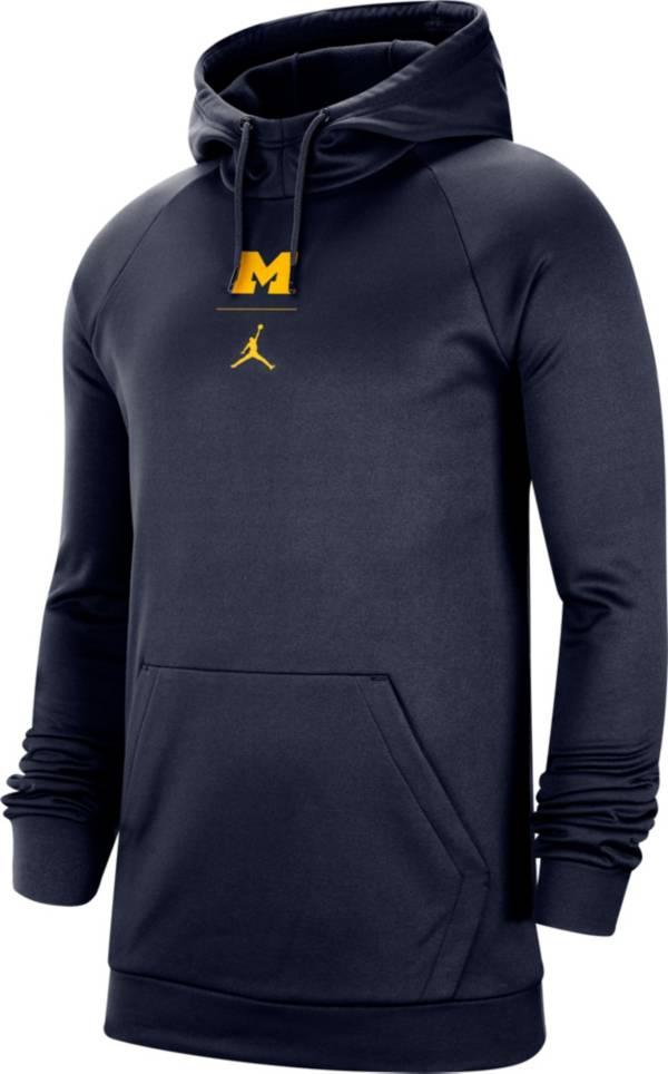 Jordan Men's Michigan Wolverines Navy Alpha Therma Fleece Pullover Hoodie product image