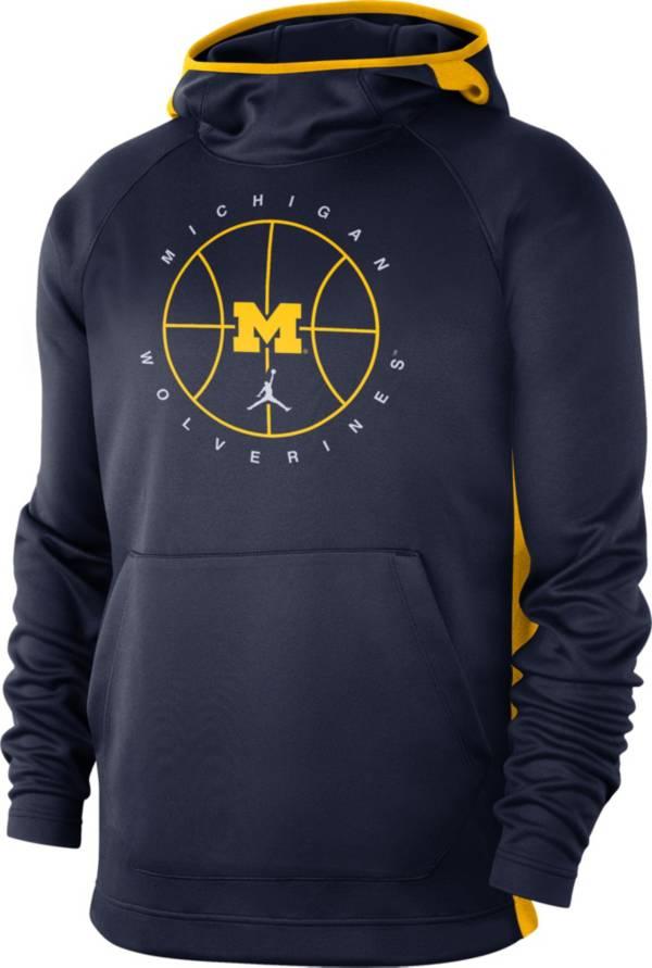 Jordan Men's Michigan Wolverines Blue Spotlight Basketball Pullover Hoodie product image