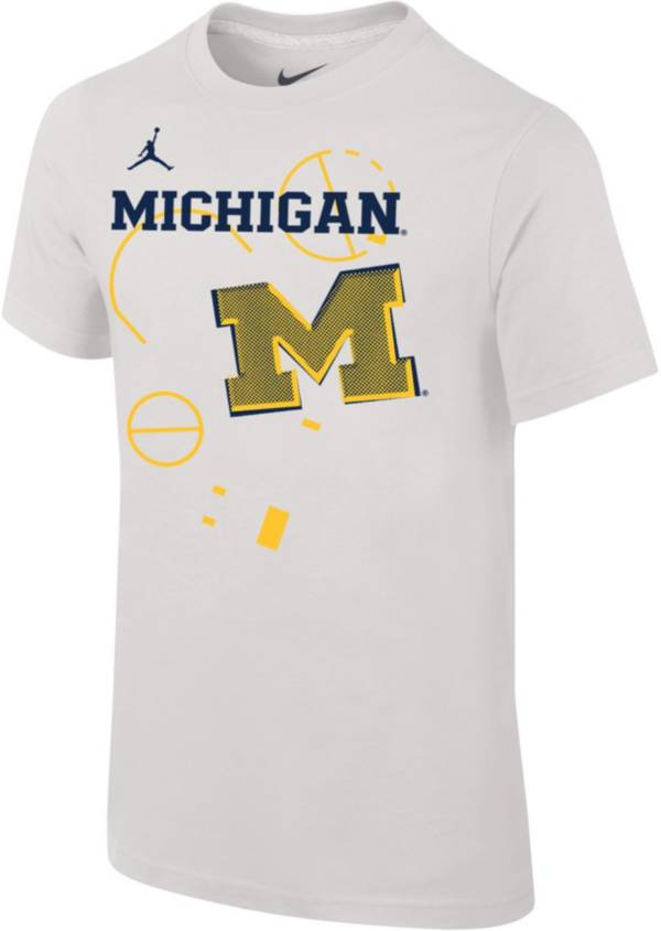 Jordan Youth Michigan Wolverines Bench White T-Shirt product image