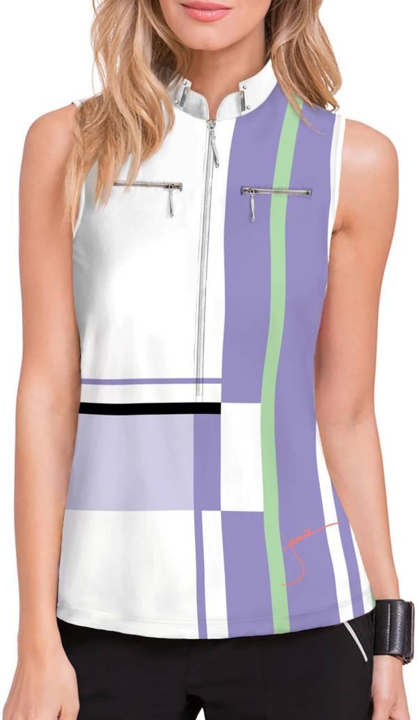 Jamie Sadock Women's Multi Stripe Sleeveless 1/4 Zip Golf Polo product image