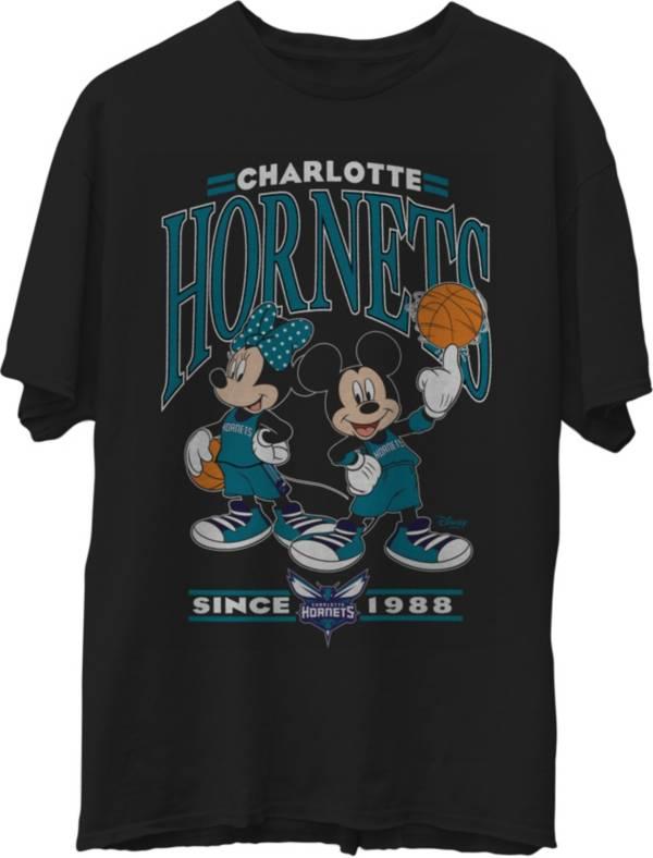 Junk Food Men's Charlotte Hornets Disney Vintage Minnie & Mickey Black T-Shirt product image