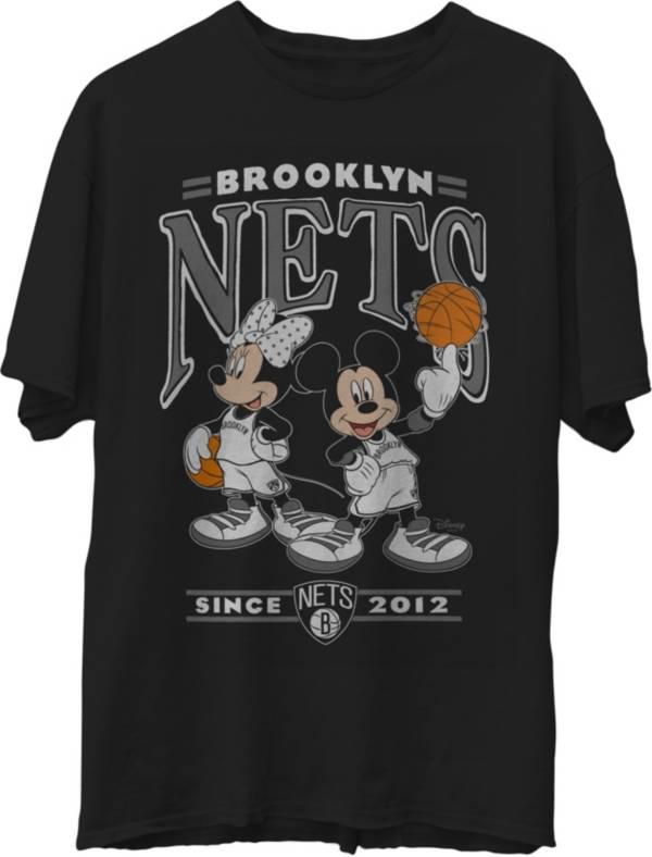 Junk Food Men's Brooklyn Nets Disney Vintage Minnie & Mickey Black T-Shirt product image