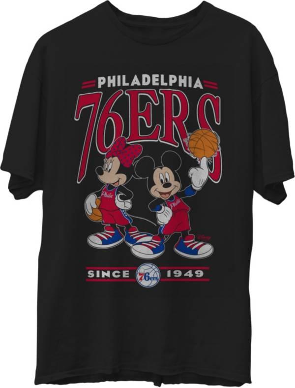 Junk Food Men's Philadelphia 76ers Disney Vintage Minnie & Mickey Black T-Shirt product image