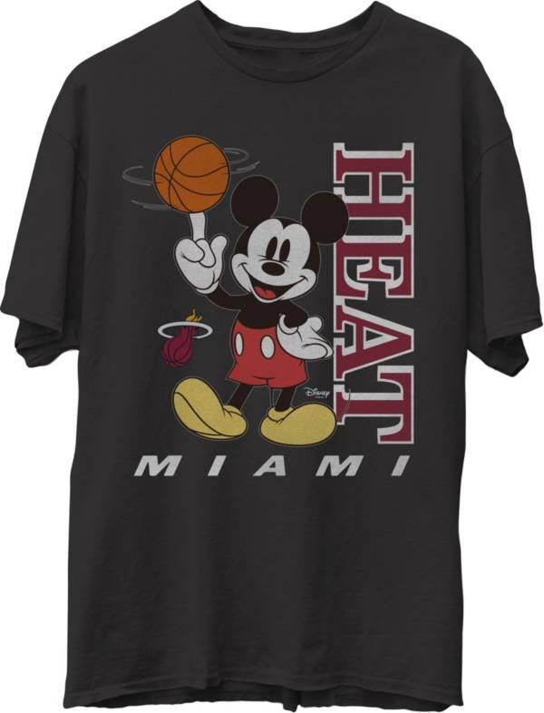 Junk Food Men's Miami Heat Disney Vintage Mickey Baller Black T-Shirt product image