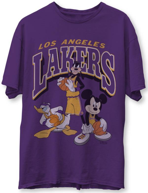 Junk Food Men's Los Angeles Lakers Purple Disney Vintage Mickey Squad T-Shirt product image