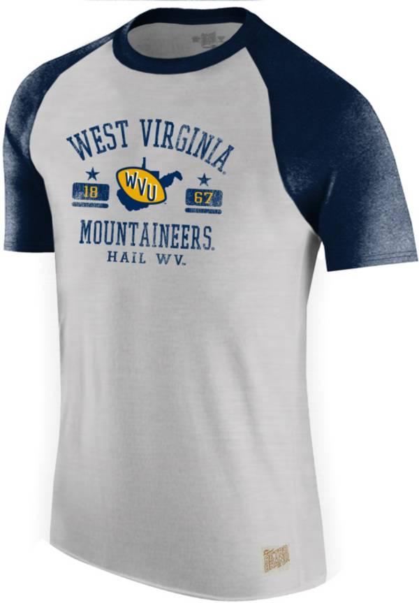 Original Retro Brand Men's West Virginia Mountaineers Grey Raglan T-Shirt product image