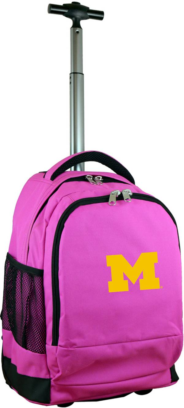 Mojo Michigan Wolverines Wheeled Premium Pink Backpack product image