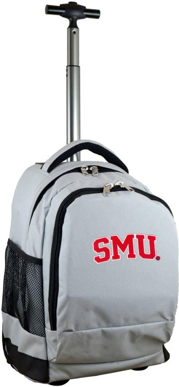 Mojo Southern Methodist Mustangs Wheeled Premium Grey Backpack product image