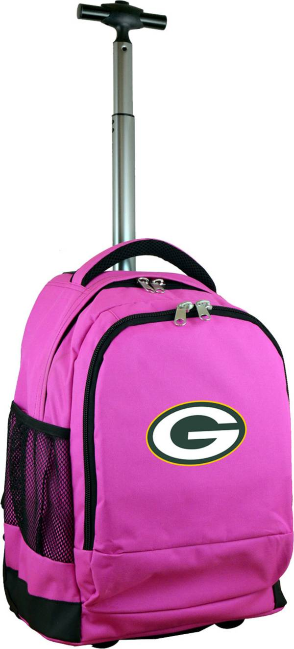 Mojo Green Bay Packers Wheeled Premium Pink Backpack product image