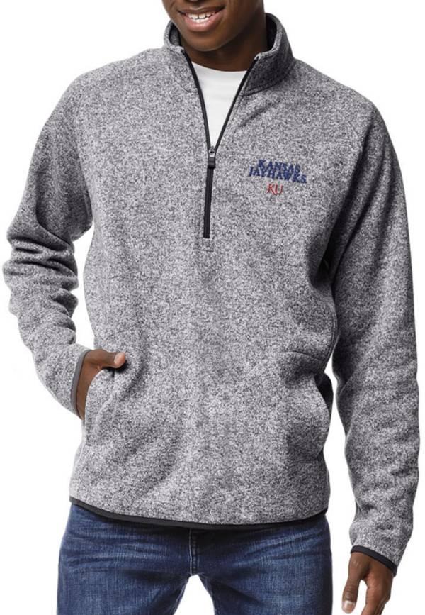 League-Legacy Men's Kansas Jayhawks Grey Saranac Quarter-Zip Shirt product image