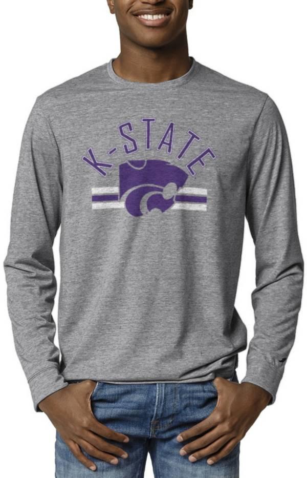 League-Legacy Men's Kansas State Wildcats Grey Reclaim Tri-Blend Long Sleeve T-Shirt product image