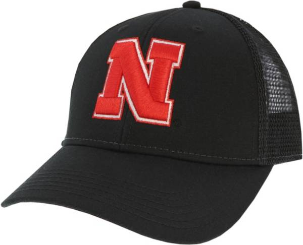 League-Legacy Men's Nebraska Cornhuskers Lo-Pro Adjustable Trucker Black Hat product image