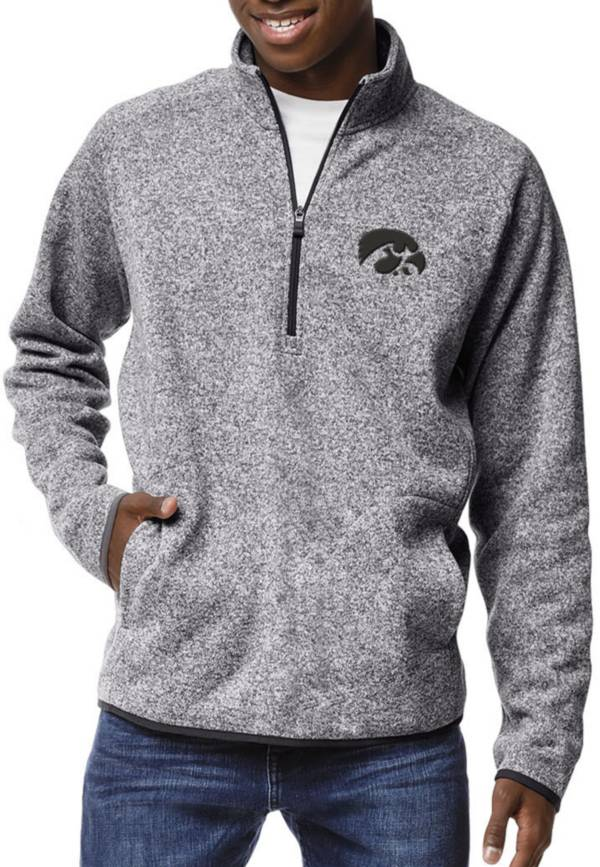 League-Legacy Men's Iowa Hawkeyes Grey Saranac Quarter-Zip Shirt product image