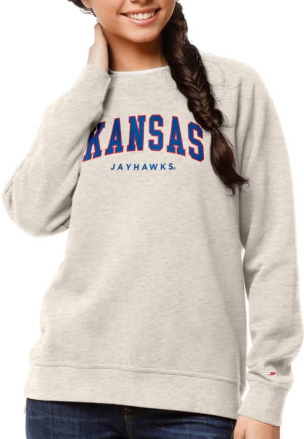 League-Legacy Women's Kansas Jayhawks Oatmeal Academy Crew Sweatshirt product image