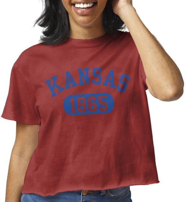 League-Legacy Women's Kansas Jayhawks Crimson Clothesline Cotton Cropped T-Shirt product image