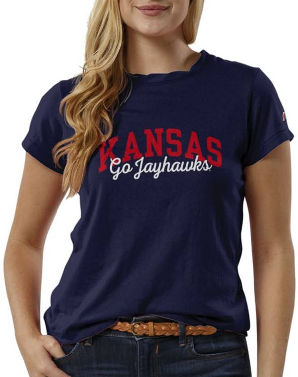 League-Legacy Women's Kansas Jayhawks Blue ReSpin T-Shirt product image
