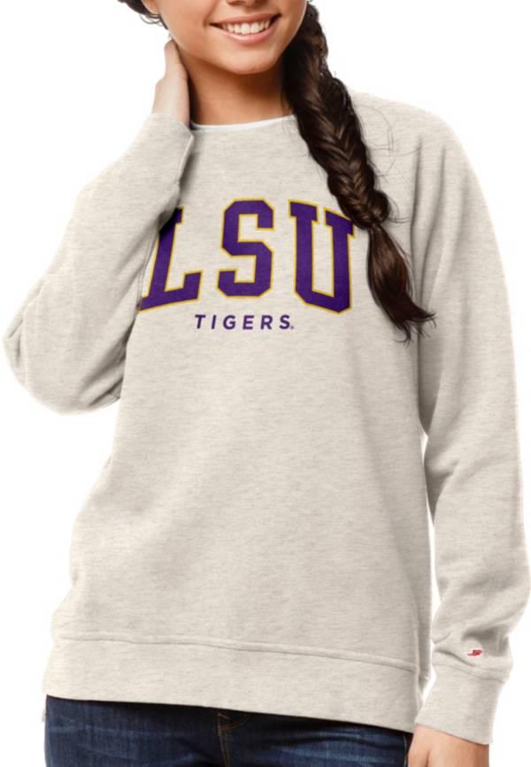 League-Legacy Women's LSU Tigers Oatmeal Academy Crew Sweatshirt product image