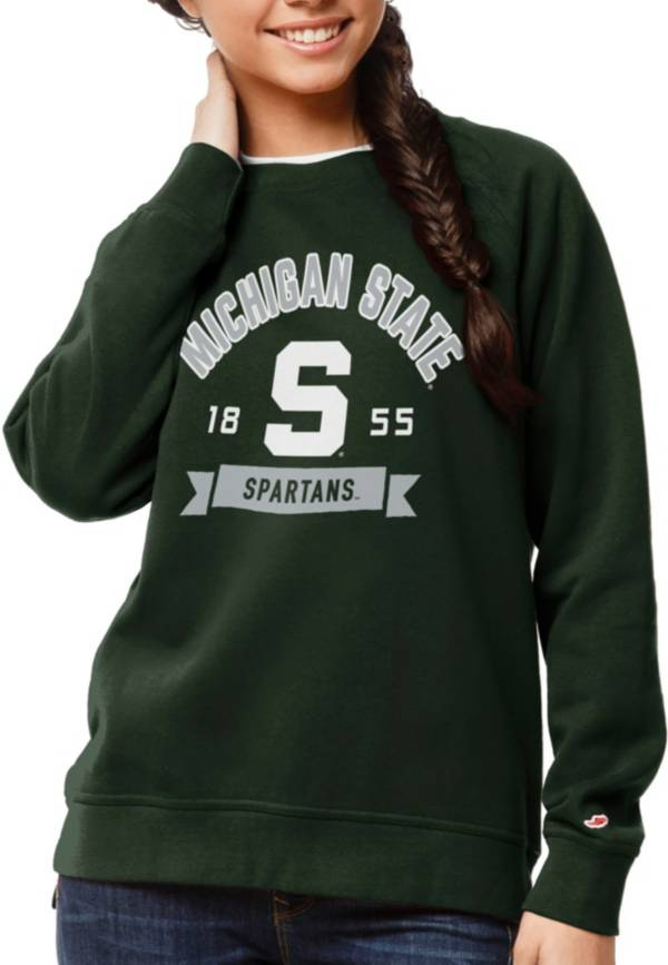 League-Legacy Women's Michigan State Spartans Green Academy Crew Sweatshirt product image