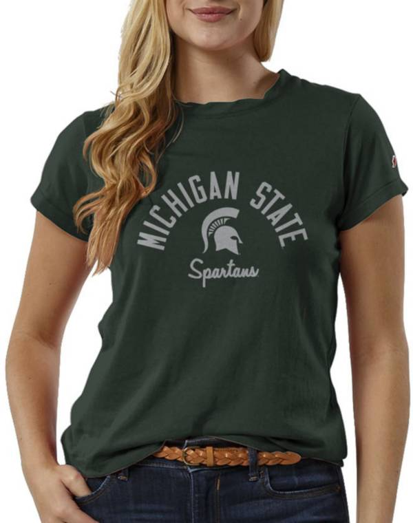 League-Legacy Women's Michigan State Spartans Green ReSpin T-Shirt product image