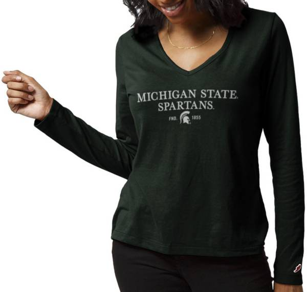 League-Legacy Women's Michigan State Spartans Green ReSpin Long Sleeve T-Shirt product image