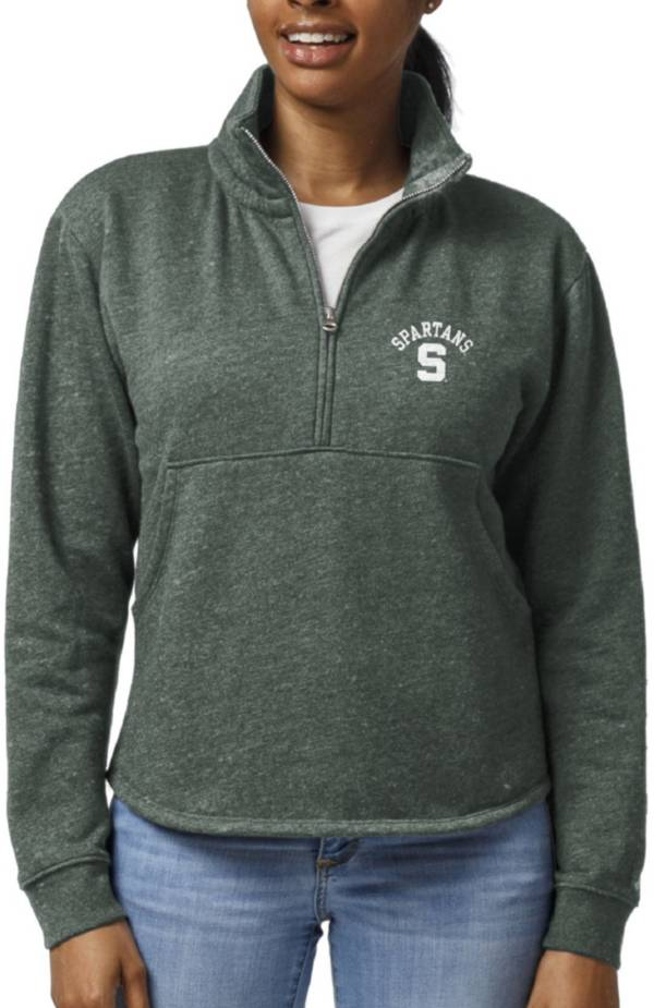 League-Legacy Women's Michigan State Spartans Green Victory Springs Quarter-Zip Shirt product image