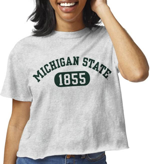 League-Legacy Women's Michigan State Spartans Grey Clothesline Cotton Cropped T-Shirt product image