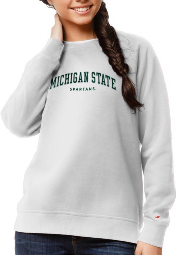 League-Legacy Women's Michigan State Spartans Academy Crew White Sweatshirt product image