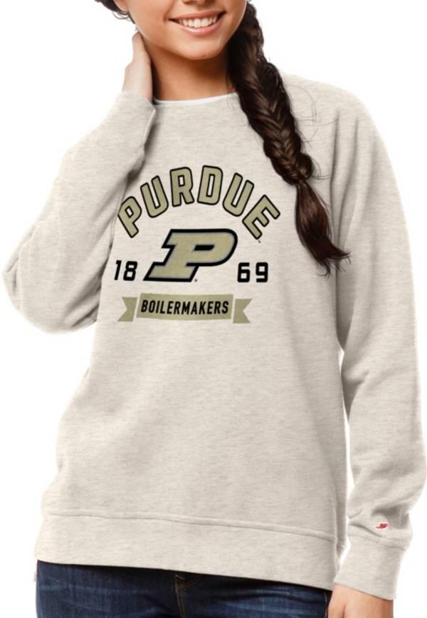 League-Legacy Women's Purdue Boilermakers Oatmeal Academy Crew Sweatshirt product image