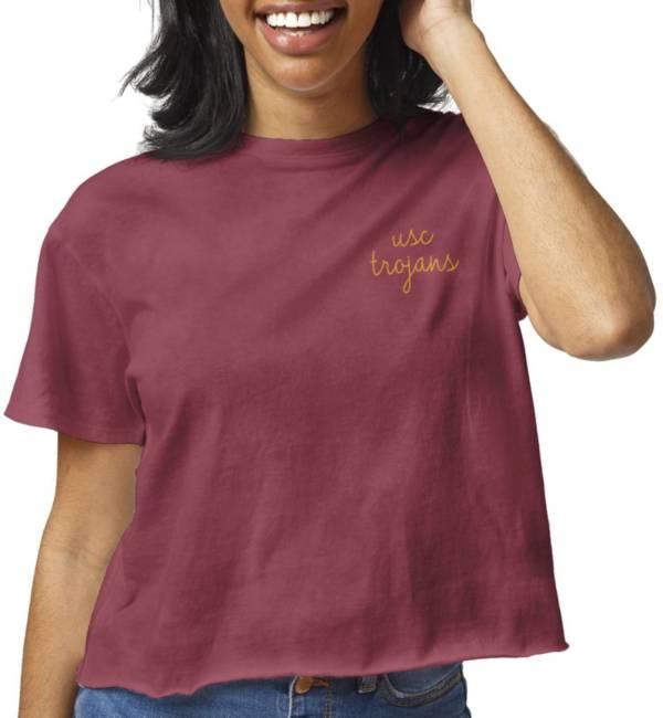 League-Legacy Women's USC Trojans Cardinal Clothesline Cotton Cropped T-Shirt product image
