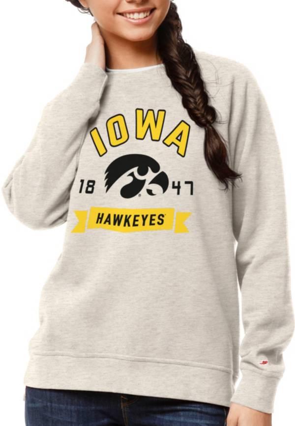 League-Legacy Women's Iowa Hawkeyes Oatmeal Academy Crew Sweatshirt product image