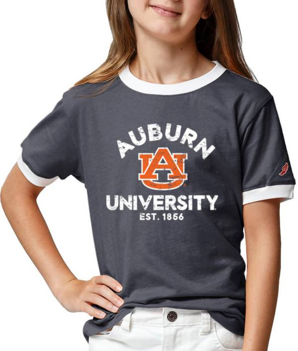 League-Legacy Youth Girls' Auburn Tigers Blue Ringer T-Shirt product image