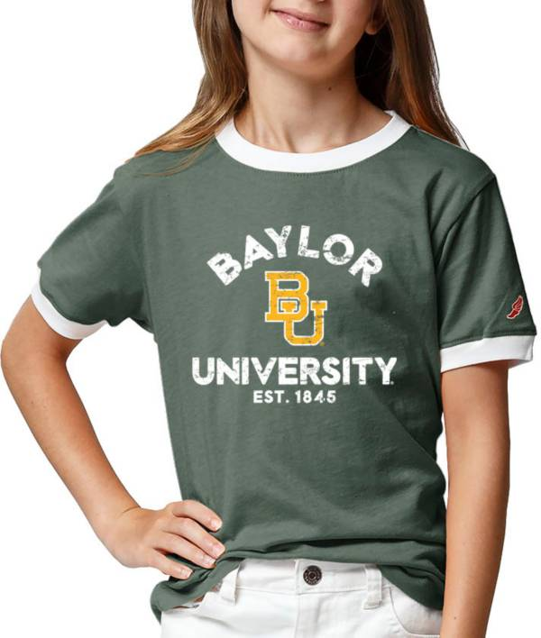 League-Legacy Youth Girls' Baylor Bears Green Ringer T-Shirt product image