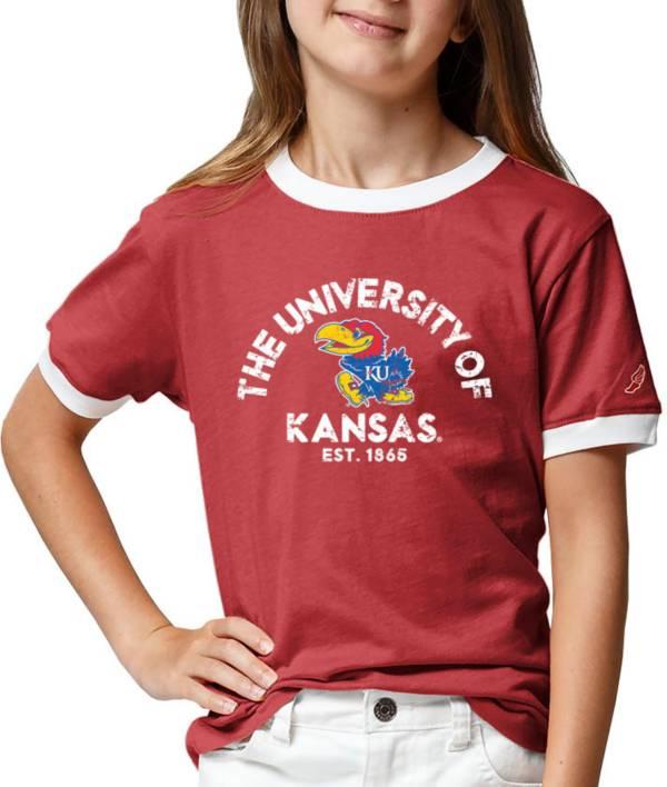 League-Legacy Youth Girls' Kansas Jayhawks Crimson Ringer T-Shirt product image