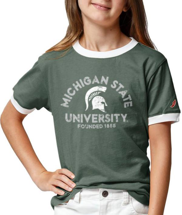 League-Legacy Youth Girls' Michigan State Spartans Green Ringer T-Shirt product image
