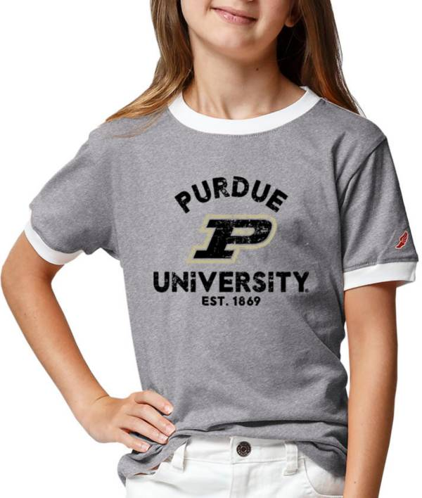 League-Legacy Youth Girls' Purdue Boilermakers Grey Ringer T-Shirt product image