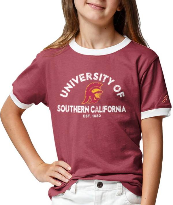League-Legacy Youth Girls' USC Trojans Cardinal Ringer T-Shirt product image