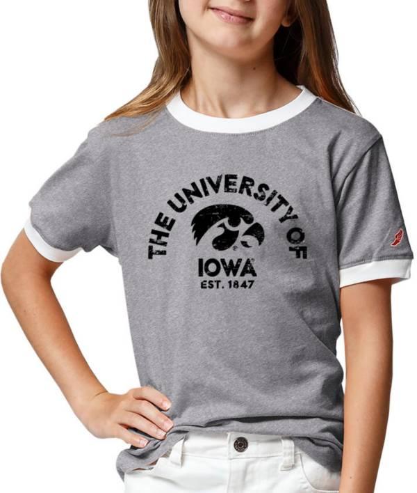 League-Legacy Youth Girls' Iowa Hawkeyes Grey Ringer T-Shirt product image