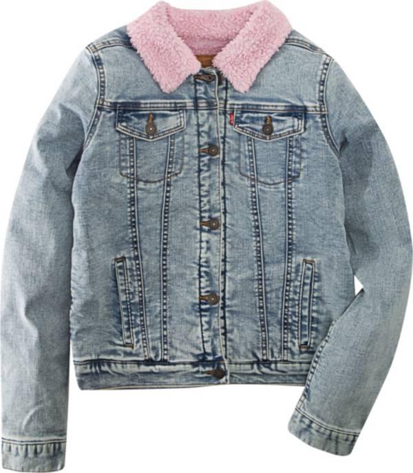 Levi's Girls' Sherpa Trim Denim Trucker Jacket product image