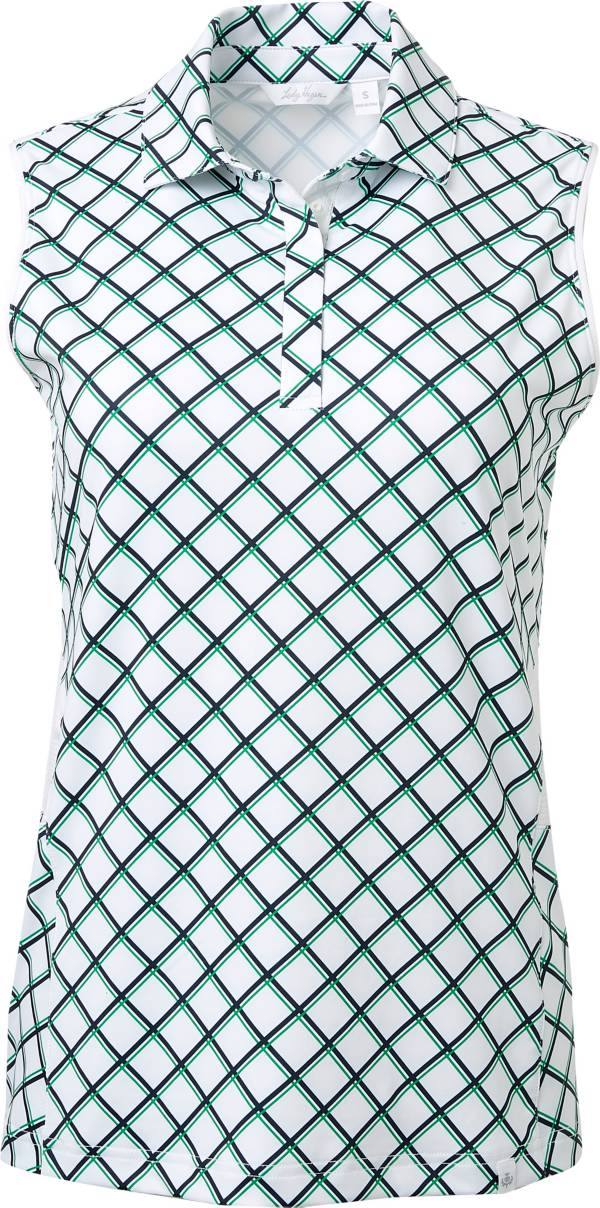 Lady Hagen Women's Green Printed Sleeveless Golf Polo product image